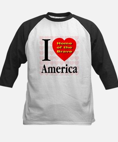 I Love America Home of the Br Kids Baseball Jersey