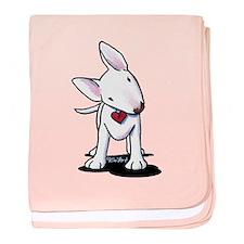 Curious Bull Terrier baby blanket