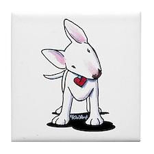 Curious Bull Terrier Tile Coaster