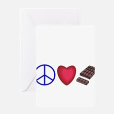 peace, love and chocolate Greeting Card