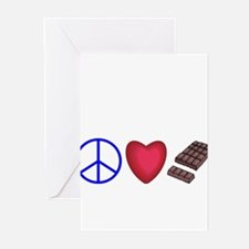 peace, love and chocolate Greeting Cards (Pk of 10