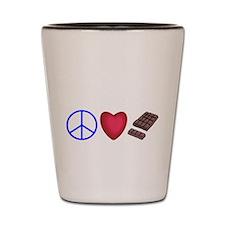 peace, love and chocolate Shot Glass