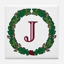 "Oak Wreath ""J"" Tile Coaster"