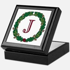 "Oak Wreath ""J"" Keepsake Box"