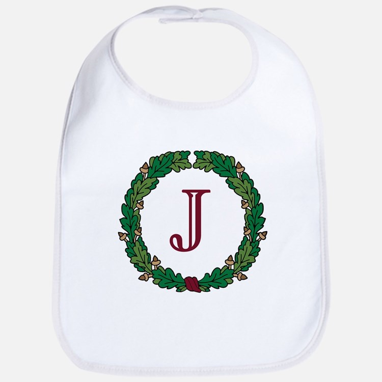 "Oak Wreath ""J"" Bib"