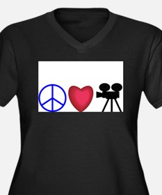 Movie Lover Women's Plus Size V-Neck Dark T-Shirt