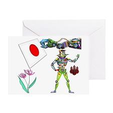 Traffic Robot Japan Flag Greeting Card