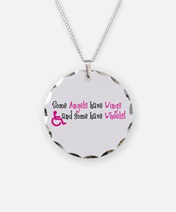 Some Angels have Wheels Necklace Circle Charm
