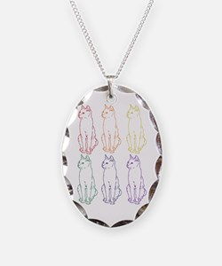 rainbow cats Necklace Oval Charm