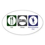 Eat - Sleep - Ren Fair Sticker (Oval 10 pk)