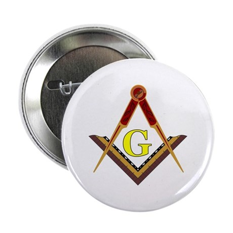 "Traditional Square and Compass 2.25"" Button"