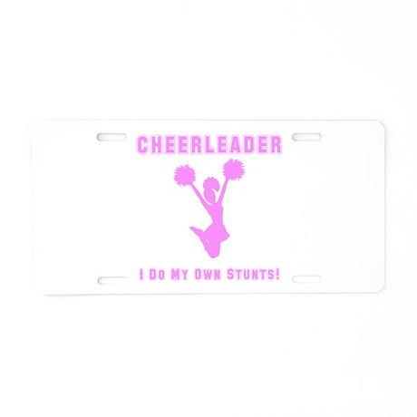 Cheerleader Stunts Aluminum License Plate
