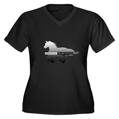 Mustang Horse Women's Plus Size V-Neck Dark T-Shir