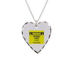 WARNING: Vet Student Under Pressure Necklace Heart