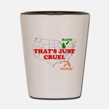AMERICA'S HAND AND PENIS ARE Shot Glass
