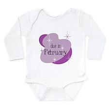 Due In February Retro Long Sleeve Infant Bodysuit