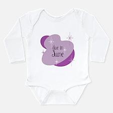 Due In June Retro Long Sleeve Infant Bodysuit