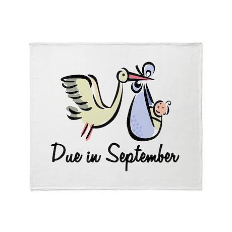 Due In September Stork Throw Blanket
