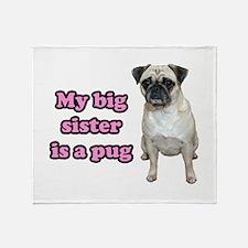 Big Sister Pug Throw Blanket
