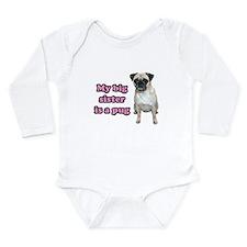 Big Sister Pug Long Sleeve Infant Bodysuit