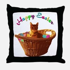 Happy Easter Cat Throw Pillow