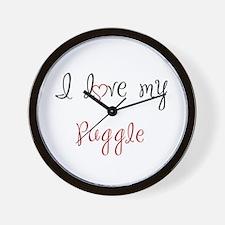 I Love My Puggle Wall Clock