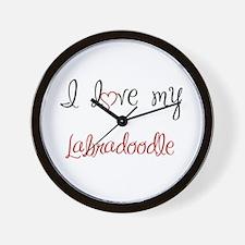 I Love My Labradoodle Wall Clock
