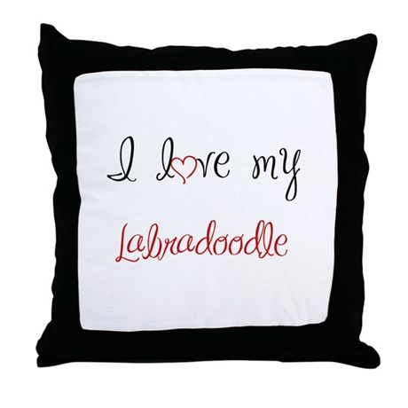 I Love My Labradoodle Throw Pillow