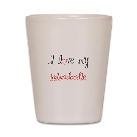 I Love My Labradoodle Shot Glass