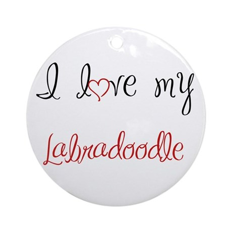 I Love My Labradoodle Ornament (Round)