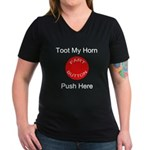 Fart Button Toot My Horn Dark Women's V-Neck Dark