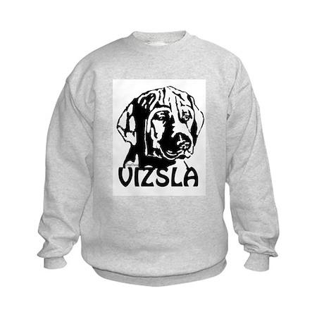 Vizsla Puppy In Black And Whi Kids Sweatshirt