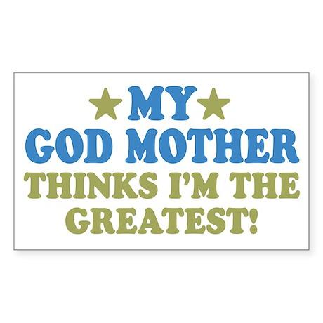 Greatest God Mother Sticker (Rectangle)