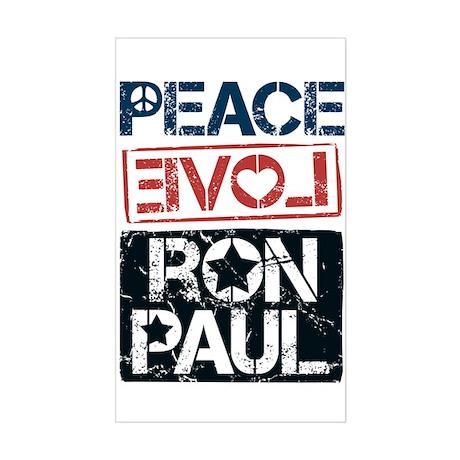 Peace Love Ron Paul Sticker (Rectangle)