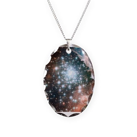 Star Cluster Necklace Oval Charm