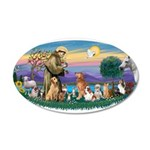 StFrancis-Dogs-Cats-Horse 38.5 x 24.5 Oval Wall Pe