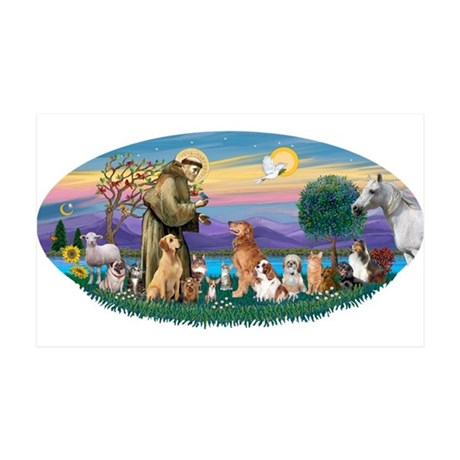 StFrancis-Dogs-Cats-Horse 38.5 x 24.5 Wall Peel