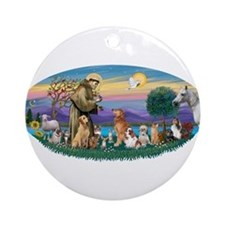 StFrancis-Dogs-Cats-Horse Ornament (Round)