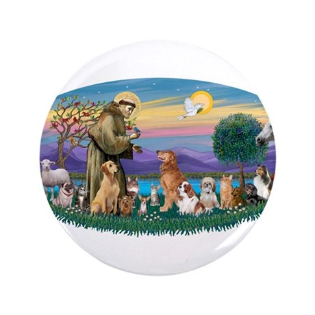 "StFrancis-Dogs-Cats-Horse 3.5"" Button"
