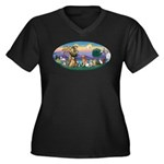 StFrancis-Dogs-Cats-Horse Women's Plus Size V-Neck