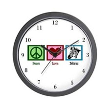 Peace Love Zebras Wall Clock