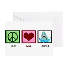 Peace Love Sharks Greeting Card