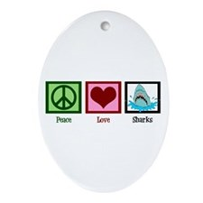 Peace Love Sharks Ornament (Oval)