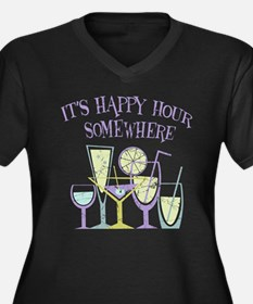 Happy Hour [2] Women's Plus Size V-Neck Dark T-Shi