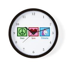 Peace Love Unicorns Wall Clock