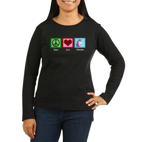 Peace Love Unicorns Women's Long Sleeve Dark T-Shi