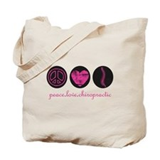 PEACE LOVE CHIROPRACTIC Tote Bag