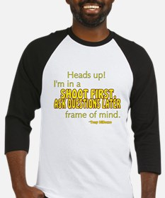 NCIS Quote: Shoot First Baseball Jersey