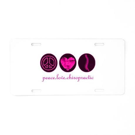 PEACE LOVE CHIROPRACTIC Aluminum License Plate