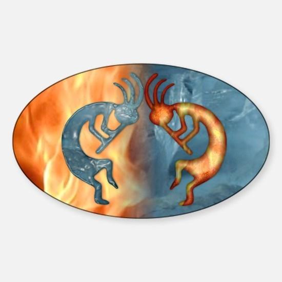 Kokopelli Fire & Ice (NEW) Oval Decal